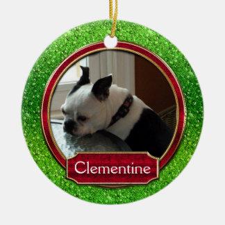 Chispa roja verde de la foto del ornamento FALSA Ornamentos De Navidad