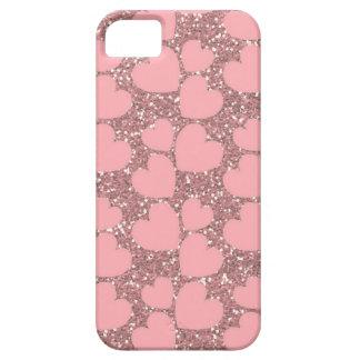 Chispa rosada con los corazones iPhone 5 protector