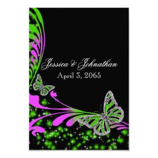 """Chispa verde rosada negra de la mariposa invitación 3.5"""" x 5"""""""