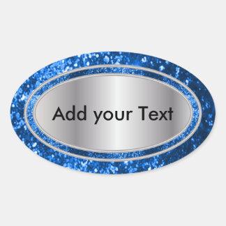 Chispas atractivas relucientes del azul pegatina ovalada