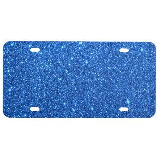 Chispas azules brillantes del brillo placa de matrícula