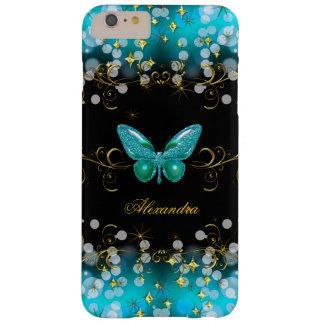 Chispas azules de la mariposa del negro del oro funda de iPhone 6 plus barely there