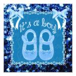 Chispas azules del azul de la ducha del bebé del invitación 13,3 cm x 13,3cm