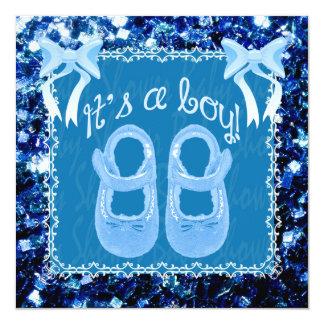 """Chispas azules del azul de la ducha del bebé del invitación 5.25"""" x 5.25"""""""