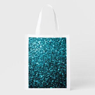 Chispas azules del brillo de la aguamarina hermosa bolsas para la compra