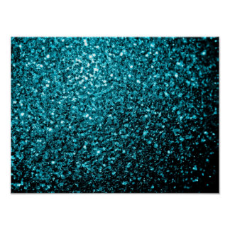 Chispas azules del brillo de la aguamarina hermosa póster