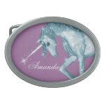 Chispas azules del unicornio hebillas cinturon ovales
