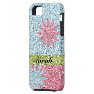 Chispas azules rosadas femeninas de la flor iPhone 5 fundas