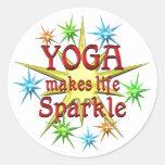 Chispas de la yoga pegatinas redondas