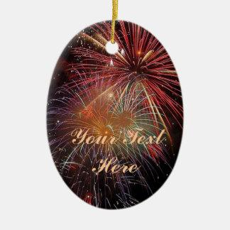 Chispas de los fuegos artificiales del Año Nuevo Adorno Navideño Ovalado De Cerámica