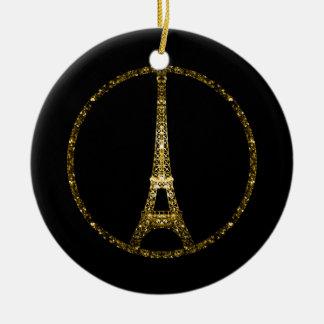Chispas del brillo del oro de la torre Eiffel Adorno Navideño Redondo De Cerámica