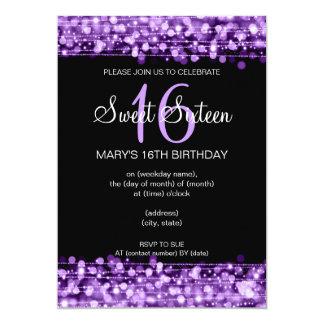 """Chispas del fiesta del dulce dieciséis púrpuras invitación 5"""" x 7"""""""