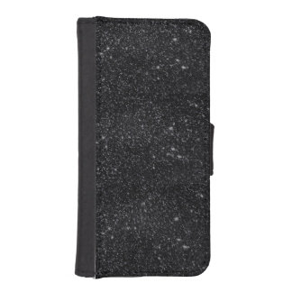 Chispas del negro fundas billetera de iPhone 5