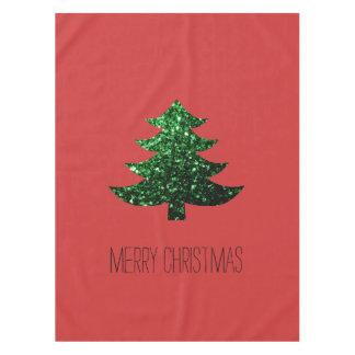 Chispas del verde del árbol de navidad + rojo del mantel de tela