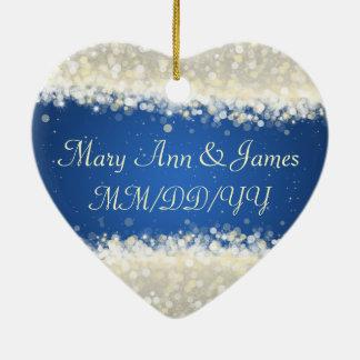 Chispas elegantes del deslumbramiento del favor adorno navideño de cerámica en forma de corazón