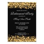 Chispas elegantes del oro del fiesta de retiro invitación 12,7 x 17,8 cm