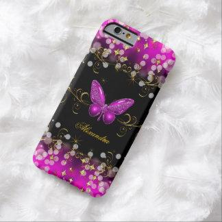 Chispas exóticas de la mariposa del negro del oro funda de iPhone 6 barely there
