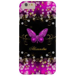 Chispas exóticas de la mariposa del negro del oro funda para iPhone 6 plus barely there