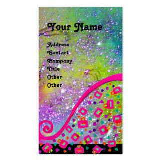 Chispas fucsias de la violeta del rosa del amarill plantillas de tarjetas personales