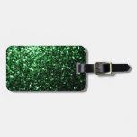 Chispas hermosas del brillo del verde del encanto etiqueta para equipaje