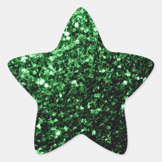 Chispas hermosas del brillo del verde del encanto calcomanía forma de estrella personalizadas