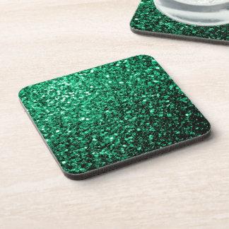 Chispas hermosas del brillo del verde esmeralda posavasos de bebida