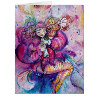 Chispas MUSICALES del rosa del PAYASO Tarjeta