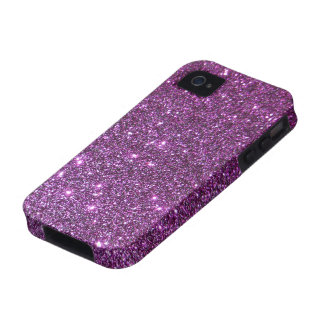 Chispas púrpuras del encanto del brillo - falso di Case-Mate iPhone 4 fundas