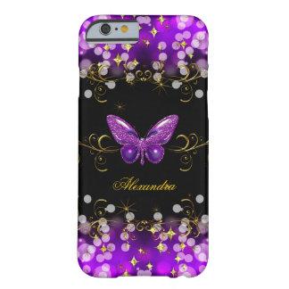 Chispas púrpuras exóticas de la mariposa del negro funda de iPhone 6 barely there