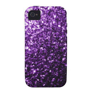 Chispas púrpuras hermosas del brillo vibe iPhone 4 fundas