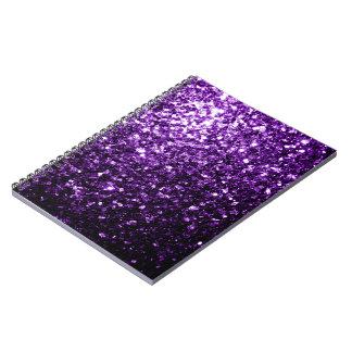 Chispas púrpuras hermosas del brillo libros de apuntes con espiral