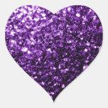 Chispas púrpuras hermosas del brillo pegatina corazón