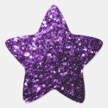 Chispas púrpuras hermosas del brillo pegatinas forma de estrella
