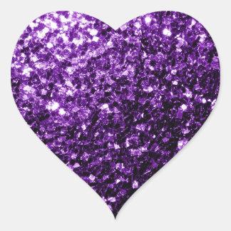 Chispas púrpuras hermosas del brillo pegatina en forma de corazón