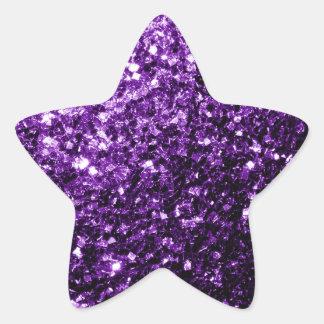 Chispas púrpuras hermosas del brillo pegatina en forma de estrella