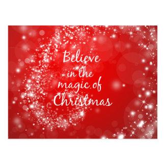 Chispas rojas con cita mágica del navidad postal