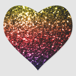 Chispas rojas de la púrpura del amarillo hermoso pegatina en forma de corazón