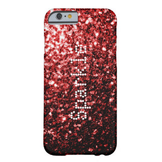 Chispas rojas del brillo del encanto + caso del funda de iPhone 6 barely there