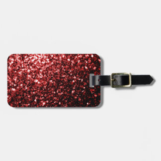 Chispas rojas del brillo del encanto hermoso etiquetas maleta