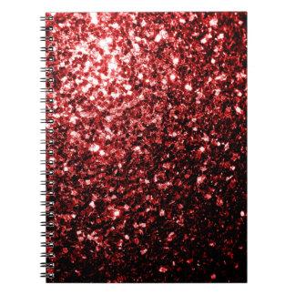 Chispas rojas del brillo del encanto hermoso libro de apuntes con espiral
