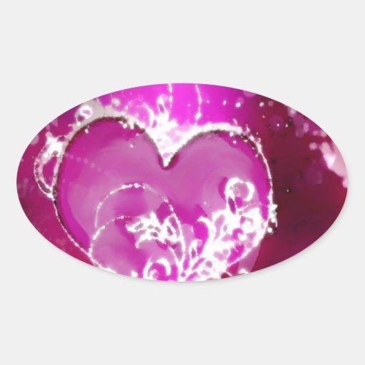 Chispas rosadas del corazón pegatina ovalada