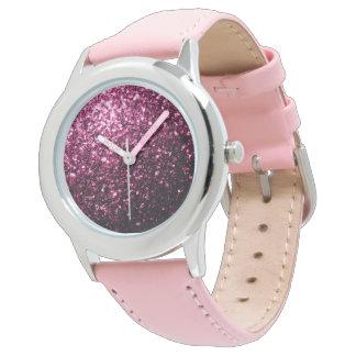 Chispas rosadas hermosas del brillo relojes de pulsera