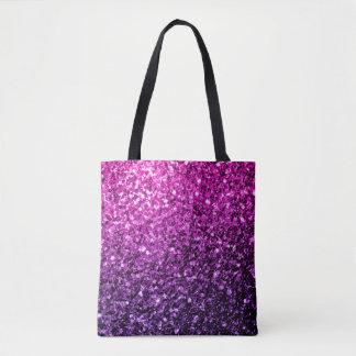 Chispas rosadas púrpuras hermosas del brillo de bolsa de tela