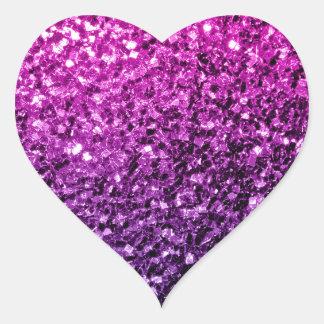 Chispas rosadas púrpuras hermosas del brillo de pegatina en forma de corazón