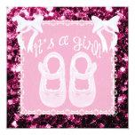 Chispas rosas claras del rosa de la ducha de la invitación 13,3 cm x 13,3cm