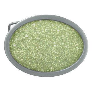 Chispas verdes claras del brillo hebilla de cinturón oval