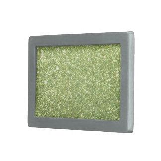 Chispas verdes claras del brillo hebillas de cinturón rectangulares