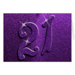 Chispea la 21ra tarjeta de felicitación púrpura de