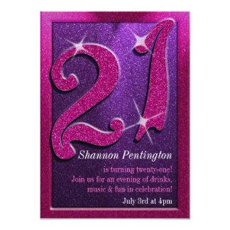 Chispean las 21ras invitaciones rosadas y púrpuras invitación 11,4 x 15,8 cm