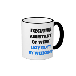 Chiste auxiliar ejecutivo perezoso taza de dos colores
